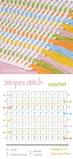 Crochet: stripes stitch!   Pattern, diagram or chart :)