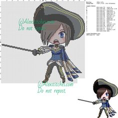 Fiora (League of Legends) free cross stitch pattern 150x147 18 colors - free cross stitch patterns by Alex