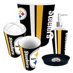 Pittsburgh Steelers NFL Complete Bathroom Accessories 5pc Set  https://www.sportstation.com/products/pittsburgh-steelers-nfl-complete-bathroom-accessories-5pc-set