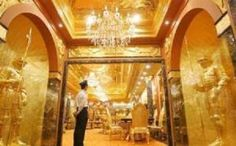 """Exquisite residence lobby – the well known passion of the sultan of Brunei for this precious metal… complete """"bling bling"""" from lobby to bedroom. King Midas, Golden Life, Social Art, Weird Pictures, Gold Gilding, House Made, Love Design, Brunei, Luxury Homes"""