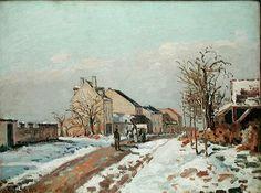 Camille Pissarro, La route de Gisors à Pontoise, effet de neige (1872)