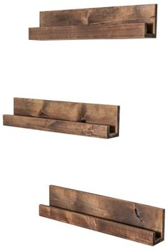 Set of 3 Floating Nursery Bookshelves (Walnut) Floating Bookshelves, Wall Bookshelves, Wood Shelves, Display Shelves, Diy Pallet Projects, Wood Projects, Woodworking Projects, Pallet Ideas, Nursery Bookshelf