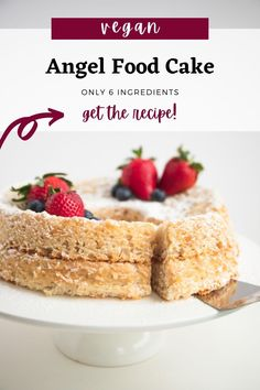 If you're looking for a plant-based alternative to the light and delicate angel food cake, this recipe for vegan angel food cake is as good as it gets. t's made with only six ingredients, just like the classic version, and calls for only 20 minutes of preparation. #vegan #angelfoodcake