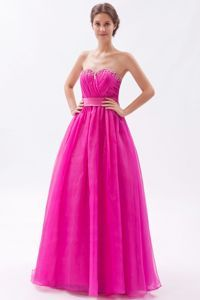 Hot Pink Beading Sweetheart Semi-Formal Evening Dresses in A-line