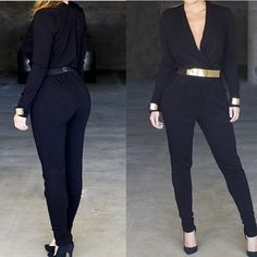 Find More Jumpsuits & Rompers Information about 2015 Plus size jumpsuits and rompers for women black cotton combinaison women deep v neck overalls coveralls jumpsuit SJ1128 ,High Quality romper swimsuit,China romper teddy Suppliers, Cheap romper infant from Perfect `Queen on Aliexpress.com