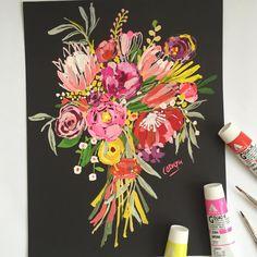 45 minute bouquet in gouache. #dscolor #bouquet #carolyngavin #gouachepaint #gouachepainting