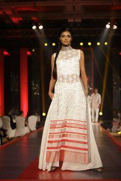 manish malhotra white lace long kameez lehnga via IndianWeddingSite.com