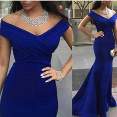 Charming Royal Blue Evening Prom Gowns Backless Formal Party Dresses 2015 Occasion Mermaid Off Shoulder Capped Celebrity Arabic Dubai