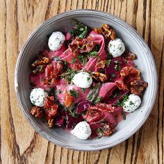 Beetroot pappardelle (with balls of herbed ricotta, finely shaved prosciutto, caramelized walnuts and fresh rocket.)