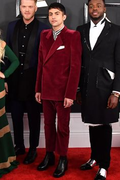 Grammys 2017: The Most Stylish Guys on the Grammy Awards Red Carpet Photos   GQ  - Mitch Grassi - The Pentatonix member is a [Demna Gvasalia] superfan(http://www.gq.com/story/two-russian-labels-we-love) and we're giving the guy big props for stepping out in this off-the-runway red velvet suit and chunky chelsea boots.