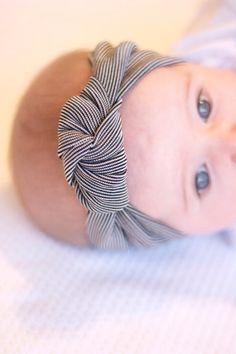 Black and White Pinstripe Knotted Headband Turban - Baby - Girl's - Women's