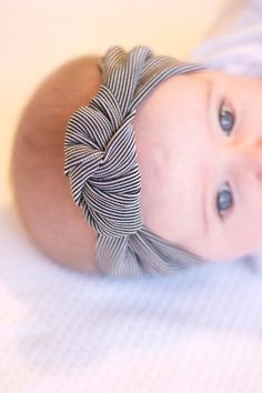 Black and White Pinstripe Knotted Headband Turban - Baby - Girl's - Women's