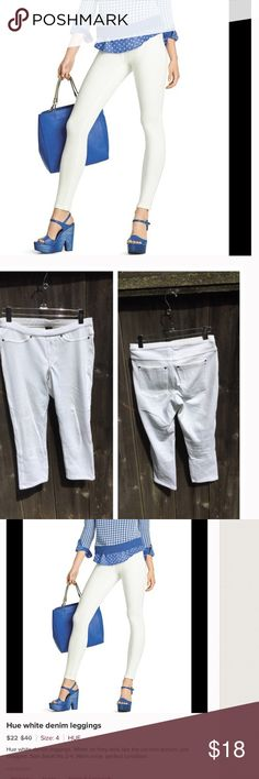 Hue white CROP denim leggings Hue white CROP denim leggings, picture is regular length. Size small, fits 2-4. Worn once- perfect condition. HUE Jeans Ankle & Cropped