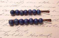 Blue vintage wooden beads  bobby pins by JMEBeads