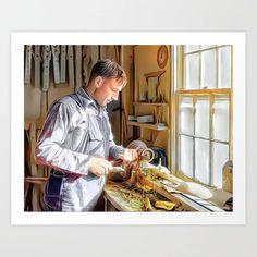 Woodworker, Gatlinburg Tennessee 1933 (uncaptioned) Art Print Colorized History, Gatlinburg Tennessee, Meet The Artist, Buy Frames, Gallery Wall, Woodworking, Art Prints, Artwork, Art Impressions