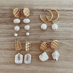 "• T W I N I N A S • στο Instagram: ""Just dropped ✨ New White & Gold earrings 🍦 #TWININAS 👆🏽 Tap to shop 🛍"" Gold Earrings, Drop Earrings, White Gold, Beaded Bracelets, Pearls, Jewelry, Shop, Instagram, Gold Stud Earrings"