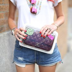 Best Street Style Shoes and Bags at Fashion Week Spring 2015 | POPSUGAR Fashion.  Chiara Ferragni's Chanel is the foundation of all of her quirky pink accessories.