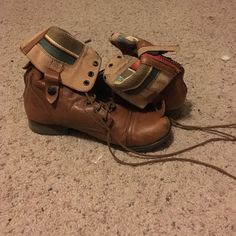 Steve Madden combat boots They have been worn but they have been sitting in my closet this year unworn. They are a few years old which is why the price is low. Steve Madden Shoes Combat & Moto Boots