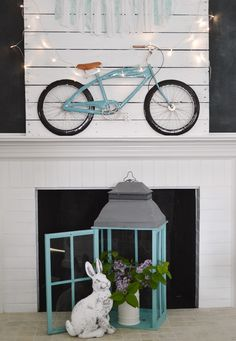 Summer Mantel - DIY Pallet Decor Bike Art, HomeGoods Aqua  Lantern foxhollowcottage.com