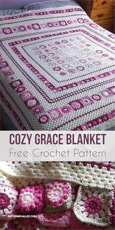 Cozy Grace Blanket [Free Crochet Pattern] #crochetpattern #crochetblanket #freecrochetpattern #homedecorideas #pink #crochet #crochetlove