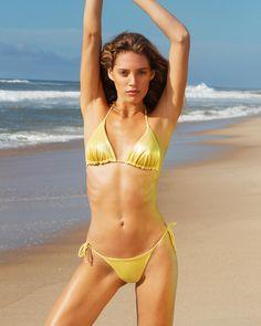 c8fabff780 Sara Cristina - Triangle Bikini in Metallic Yellow Yellow Bikini