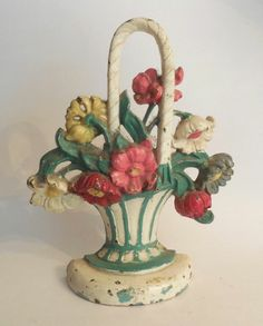 Cast Iron Basket of Flowers Hubley Doorstop