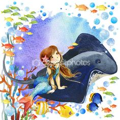 Mundo subaquático. Sereia e peixes de Recife de coral. aquarela ilustração para crianças — Imagem de Stock #76399603