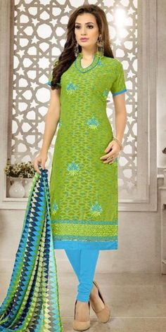 Remarkable Green Cotton Straight Suit With Dupatta.