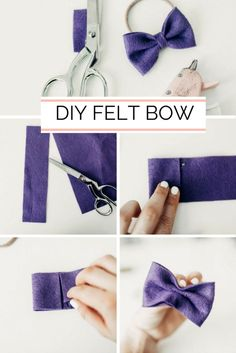 A DIY Felt Bow Tutorial // An easy, felt headband bow tutorial for girls; toddle… A DIY Felt Bow Tutorial // An easy, felt headband bow tutorial for girls; Sofia the First inspired. Diy Baby Headbands, Felt Headband, Diy Hair Bows, Diy Bow, Sewing Headbands, Ribbon Hair, Fabric Hair Bows, Flower Headbands, Making Hair Bows