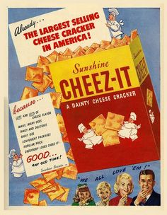 "Vintage Sunshine ""Cheez-It"" Ad. Old Advertisements, Retro Advertising, Retro Ads, Vintage Prints, Retro Vintage, Vintage Images, Vintage Food, Retro Food, Vintage Wife"