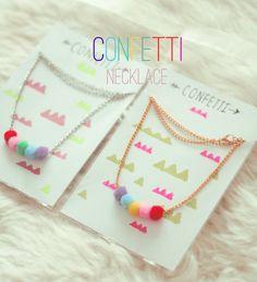 Confetti necklace by Katratzi on Etsy, Kids Necklace, Necklace Display, Jewellery Display, Pompom Necklace, Necklaces, Kids Jewelry, Jewelry Crafts, Handmade Jewelry, Jewelry Making
