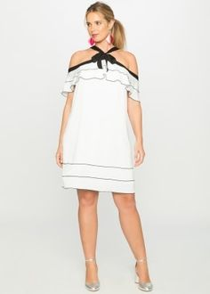 Off the Shoulder Ruffle Dress White with Black Trim Off The Shoulder, Cold Shoulder Dress, Jumpsuit Dress, Black Trim, Dress First, Ruffle Dress, Plus Size Dresses, Color Pop, White Dress