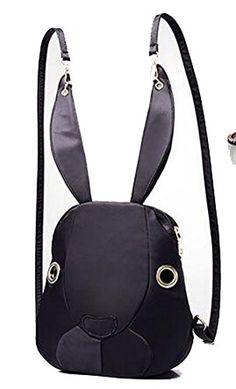 Buenocn 2016 New Women Nylon Rabbit Shape Cute Backpack Schoolbag Travel Bag Shy979 (black)