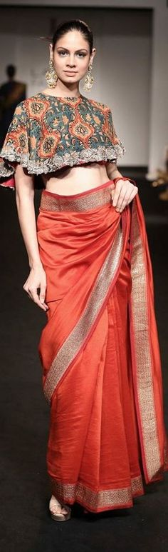 saree and blouse in a cape style