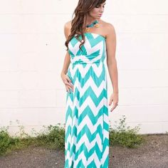 mint chevron maxi dress from Sta-Glam for $39.99 on Square Market