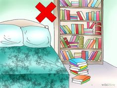 Pon tus libros en otro lado. Si sueles leer antes de dormir, podrás guardar algunos libros en tu dormitorio, pero tener demasiados podría hacerte sentir abrumado. El dormitorio es el sitio para descansar y relajarse, pero si tienes demasiados libros, será como un área de trabajo. Tener demasiados libros en tu aposento de descanso podría ser abrumador.
