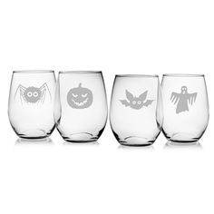 Features:  -Each piece is etched with a different spooky design.  -Made in the…