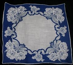 Navy Blue and White Vintage Pansy Pansies Handkerchief Sweet