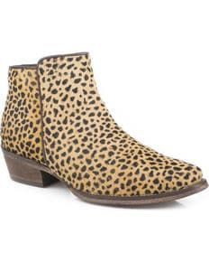 Roper Womens Tan Cheetah Hair Western Boots - Snip Toe, Tan