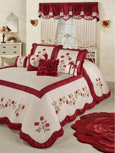 Dream like a sleeping beauty beneath the Briar Rose Floral Oversized Bedspread. Grande bedspread has a 24 drop and dark red and blush vining rose embroidery. Bed Cover Design, Bed Design, Bed Sheet Painting Design, Designer Bed Sheets, Royal Bedroom, Home Curtains, Luxury Bedding Collections, Quilted Bedspreads, Curtain Designs