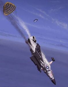 Ejection off an F-4.  Tail-chute deployed >> indicative of spin-recovery attempt...