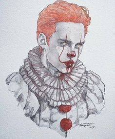 Bill Skarsgard getting into character. He is so young ,handsome and talented! - Bill Skarsgard getting into character. He is so young ,handsome and talented! Creepy Drawings, Cute Drawings, Arte Horror, Horror Art, Art Du Croquis, Pennywise The Dancing Clown, Fan Art, Art Sketches, Amazing Art
