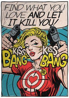 Bekannte Zitate des legendären Schriftstellers Charles Bukowski im Pop Art-Gewand, präsentiert der brasilianische Künstler Butcher Billy.