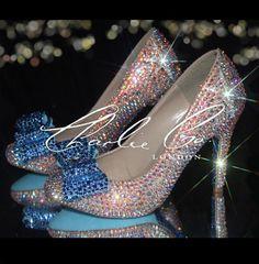 "CHARLIE CO. AB Crystal Sapphire Front Bow Round Toe Heels Bridal Shoes Stiletto's Custom Made Satin Wedding 4"" Medium Heel Strass Rhinestone on Etsy, $256.06"