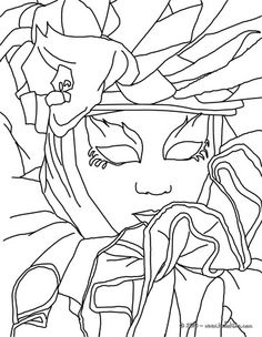 Venitian mask and costume coloring page