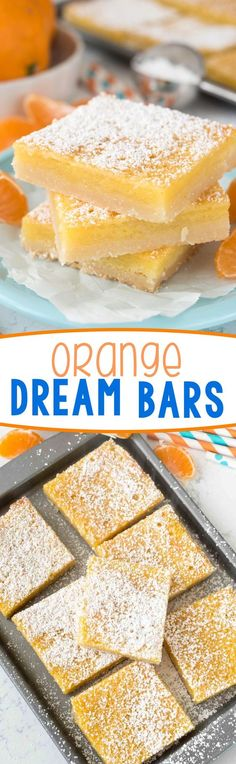 Orange Dream Bars - this easy recipe is like a lemon bar but using orange! The perfect citrus recipe, tart and sweet with a shortbread crust.
