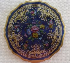 Vintage Signed STRATTON Blue Floral Enamel Compact Made in England Excellent | eBay
