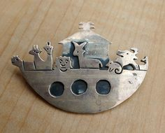 Vintage Adorable Noah's Ark Sterling Silver Mexico Mexican Sterling Pin Brooch Bible Biblical Gift Modern Abstract Jewelry by suburbantreasure on Etsy