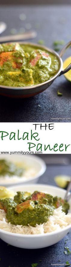 The classic Indian Palak paneer, cottage cheese in a creamy spinach curry, You can also use tofu in place of paneer