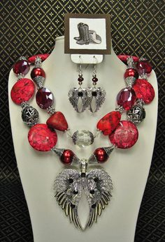 RED Turquoise / Chunky Bold Statement Gypsy Boho Western Style